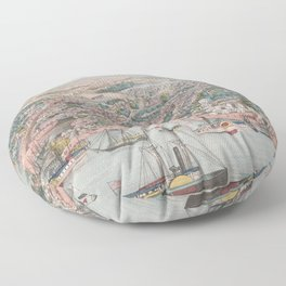 Vintage Pictorial Map of Annapolis MD (1864) Floor Pillow