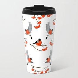 Christmas bullfinches and branch of rowan Travel Mug