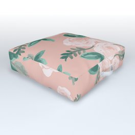 Watercolor Roses in Soft Pink Outdoor Floor Cushion