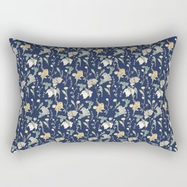 Spring Garden - navy blue Rectangular Pillow