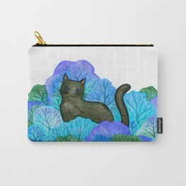 Blue Forest and Black Cat Watercolor Carry-All Pouch