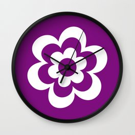 White And Purple Flower Wall Clock