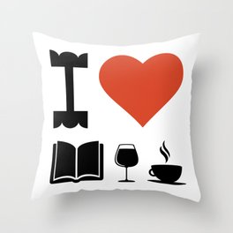 Funny Coffee Books and Wine Lover Novelty print Throw Pillow