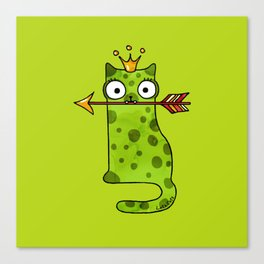 Green princess frog cat from a fairy tale is waiting for love Canvas Print