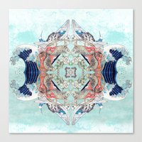 hokusai Canvas Prints featuring Hokusai Mandala by PatriciaRoberta