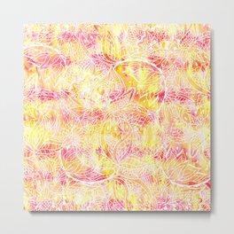 Modern pink orange tie die watercolor pattern white hand drawn floral mandala pattern Metal Print