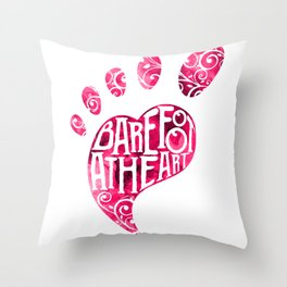 Barefoot At Heart With Foot And Toes For Yoga Class Throw Pillow