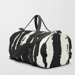 Abstract Stripes in Cream and Black Duffle Bag