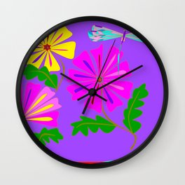 Lavender background of a Floral Design with Dragonfly Wall Clock