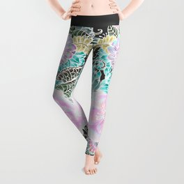 Hand painted black pink teal white green watercolor floral Leggings