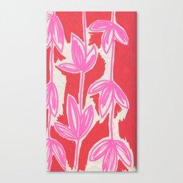 Red and Pink Sketchbook Botanical Canvas Print