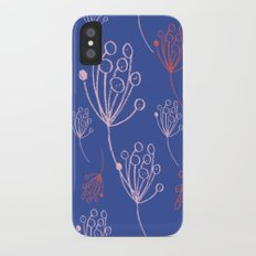 floral blue chalk contemporary iPhone X Slim Case