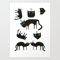 Little cats in colourful hats Art Print