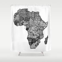 africa Shower Curtains featuring Africa by Sol Fernandez