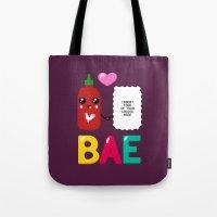 sriracha Tote Bags featuring BAE by Ronnieboyjr