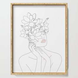 Minimal Line Art Woman with Magnolia Serving Tray