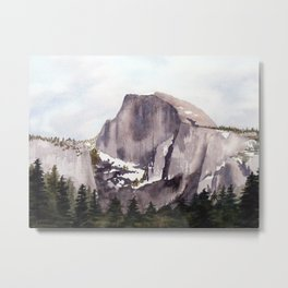 Half Dome Watercolor Metal Print