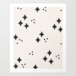 Abstract Black and White Stars Art Print