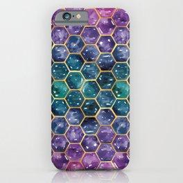 Gold Galaxy Hexagons iPhone Case