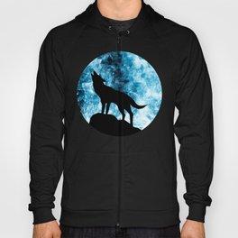 Howling Winter Wolf snowy blue smoke Hoody