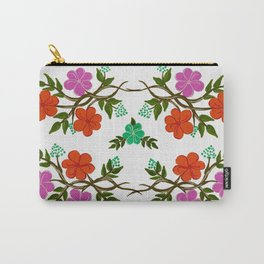 Orange and Pink Summer Flowers Carry-All Pouch