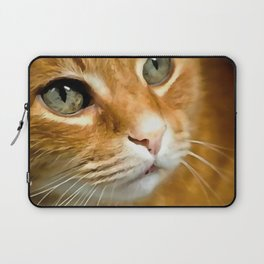 Adorable Ginger Tabby Cat Posing Laptop Sleeve