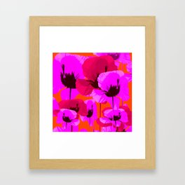 Pink And Red Poppies On A Orange Background - Summer Juicy Color Palette - Retro Mood Framed Art Print
