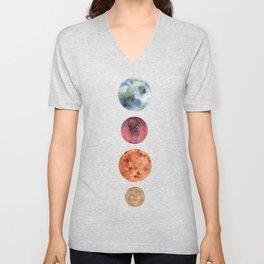 Watercolor planets: Mercury, Mars, Earth, Venus Unisex V-Neck