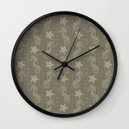 Sepia Seahorses And Starfish Pattern Wall Clock