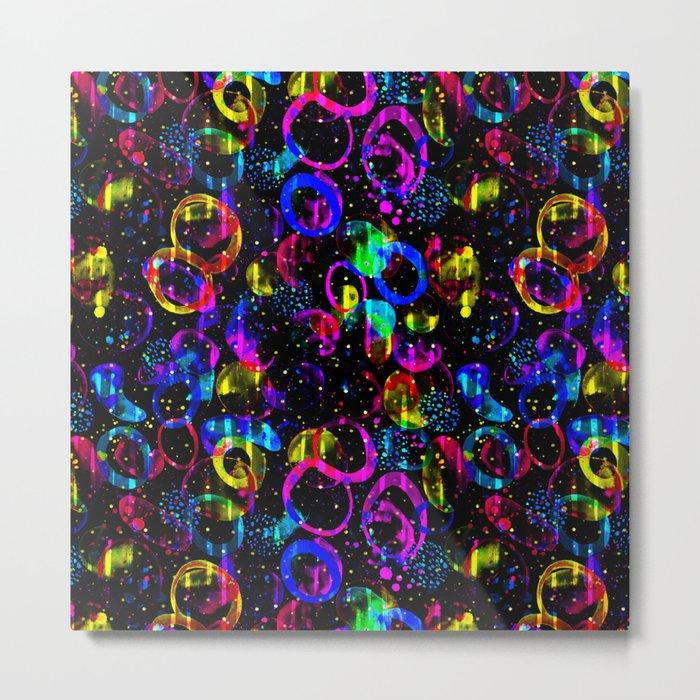 Sweet As Candy Black - colorful watercolor pattern by Lo Lah Studio Metal Print