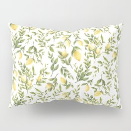 Bright Yellow Watercolor Lemons and Leaves Pillow Sham