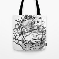 kitsune Tote Bags featuring Kitsune by Owen Swerts