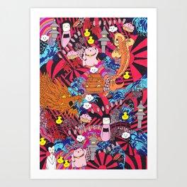 Japanese mash up Art Print