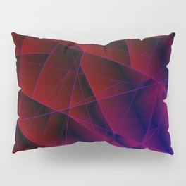 Abstract strict pattern of burgundy and overlapping purple triangles and irregularly shaped lines. Pillow Sham