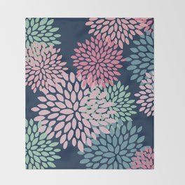 Floral Pattern, Navy Blue, Pink, Coral, Green Throw Blanket