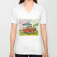 volkswagon V-neck T-shirts featuring VW Bug - Preparing for the Show by Barb Laskey Studio