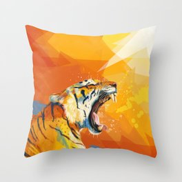 Tiger in the morning Throw Pillow