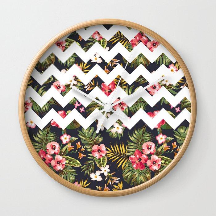 Floral Chevron Wall Clock