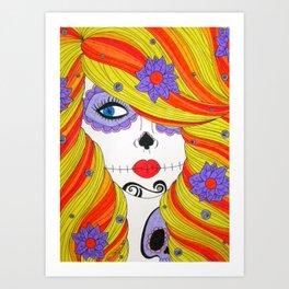 Orange and Yellow Skull Girl Art Print