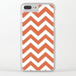 Medium vermilion - orange color - Zigzag Chevron Pattern Clear iPhone Case