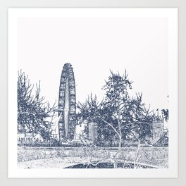 London Eye, Bridge and Bus Art Print