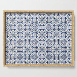 Portuguese tiles pattern blue Serving Tray