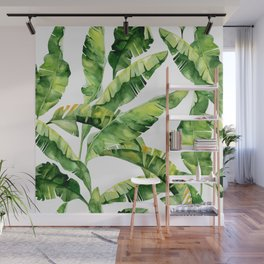 Floral Kingdom Green Lush Banana Leaves Watercolor Painting Tropical Caribbean Plants Wall Mural