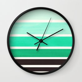 Teal Turquoise Mid Century Modern Minimalist Circle Round Photo Staggered Sunset Geometric Stripe De Wall Clock