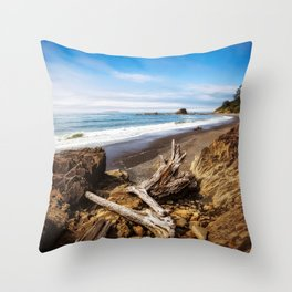 Remnants - Driftwood Logs Come to Rest on Shore of Washington Coast Throw Pillow