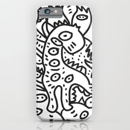 Cool Graffiti Art Dinosaur Black and White  iPhone Case