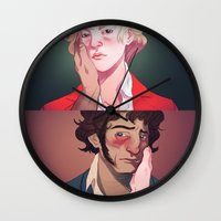 beauty and the beast Wall Clocks featuring Beauty and the Beast by Marta Milczarek