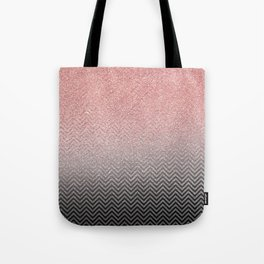 Blush chic pink  silver faux glitter geometrical Tote Bag
