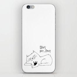 Scandinavian style cat and crown art print iPhone Skin
