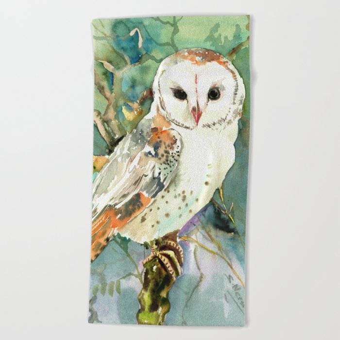 Night Owl Keepers curates Barn Owl, woodland design owl Beach Towel by sureart